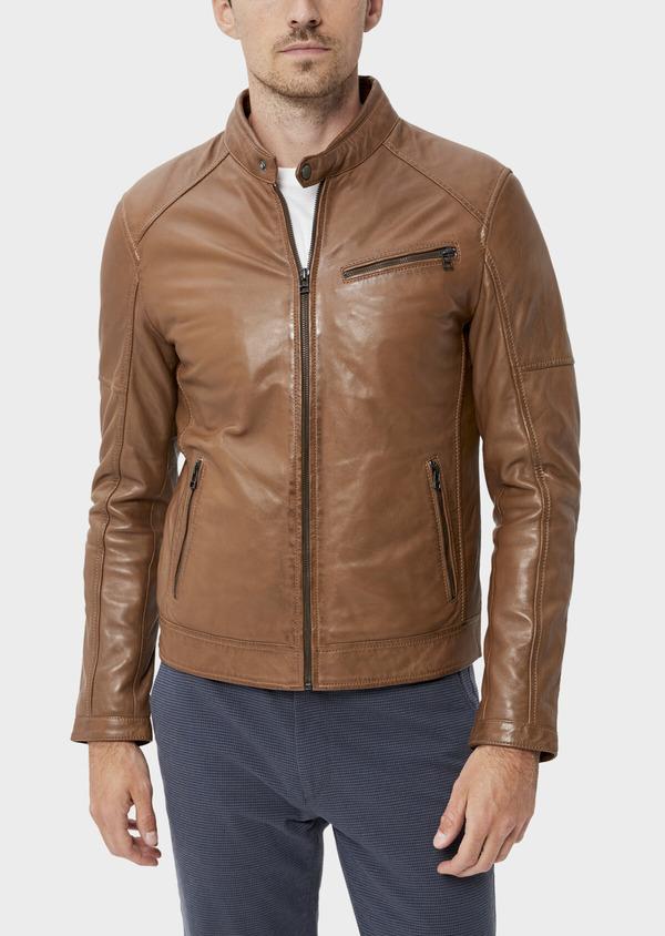 Blouson Biker en cuir uni marron avec parementure à capuche amovible - Father and Sons 34673