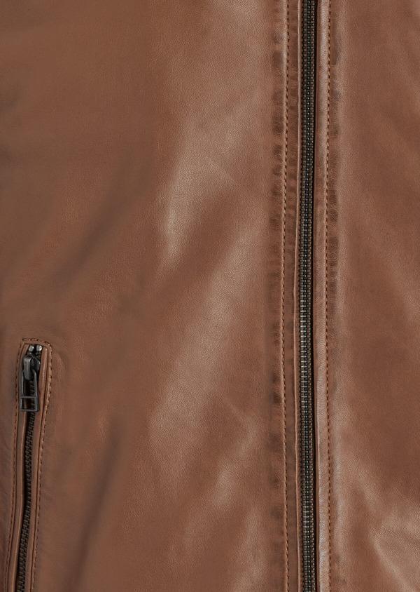 Blouson Biker en cuir uni marron avec parementure à capuche amovible - Father and Sons 34668