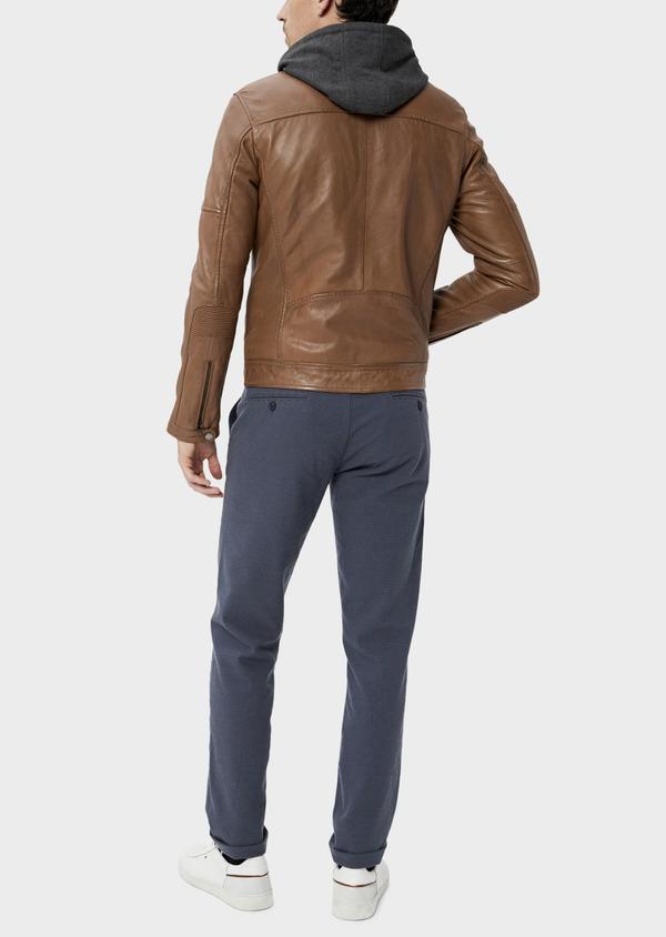 Blouson Biker en cuir uni marron avec parementure à capuche amovible - Father and Sons 34670
