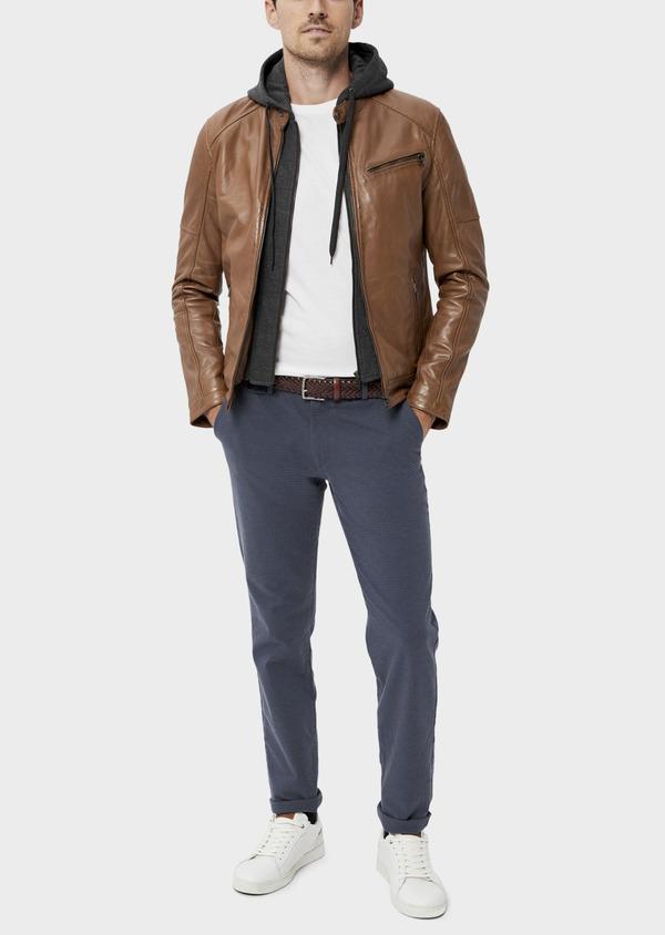 Blouson Biker en cuir uni marron avec parementure à capuche amovible - Father and Sons 34669