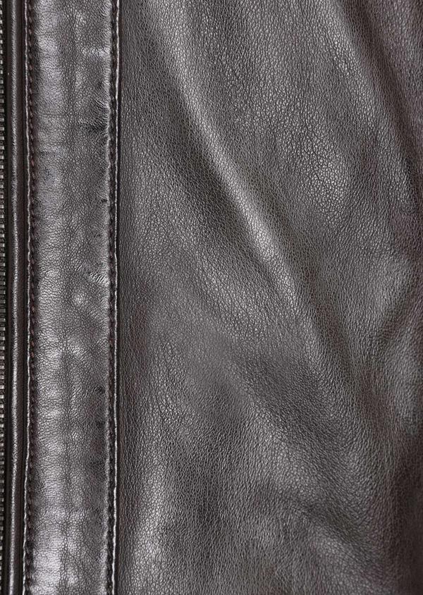 Blouson Biker en cuir uni marron foncé avec parementure à capuche amovible - Father and Sons 34640