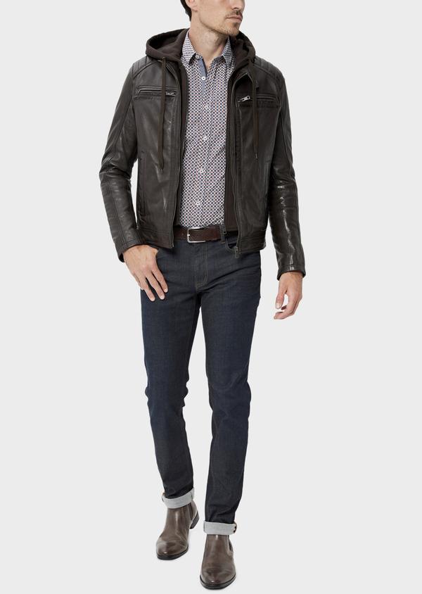 Blouson Biker en cuir uni marron foncé avec parementure à capuche amovible - Father and Sons 34641