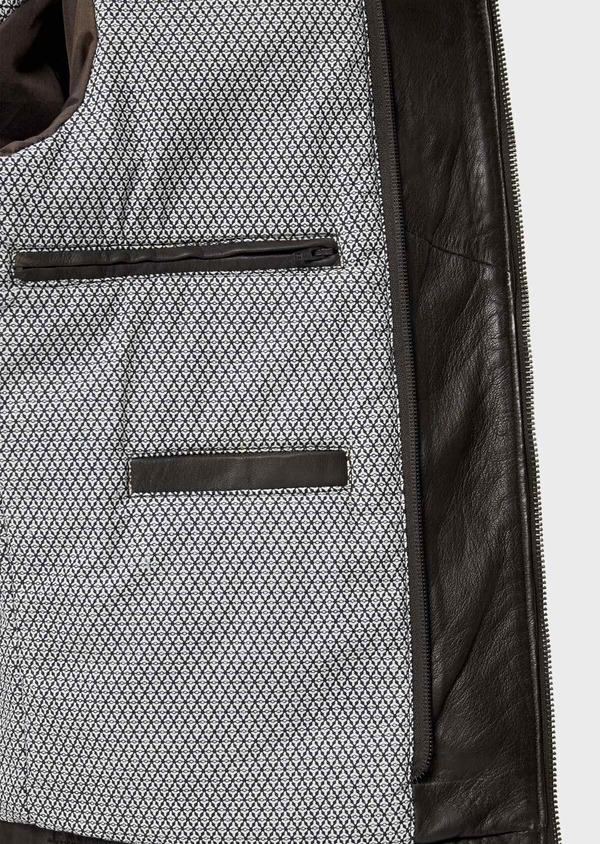 Blouson Biker en cuir uni marron foncé avec parementure à capuche amovible - Father and Sons 34644