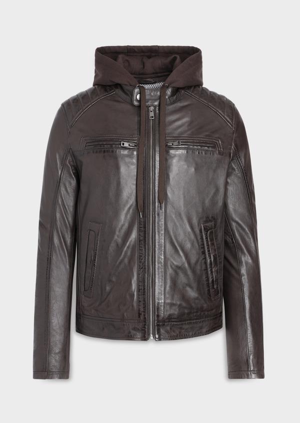 Blouson Biker en cuir uni marron foncé avec parementure à capuche amovible - Father and Sons 34639