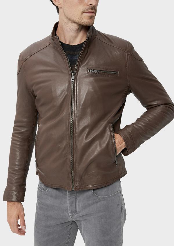 Blouson Biker en cuir uni cognac à capuche amovible - Father and Sons 34666