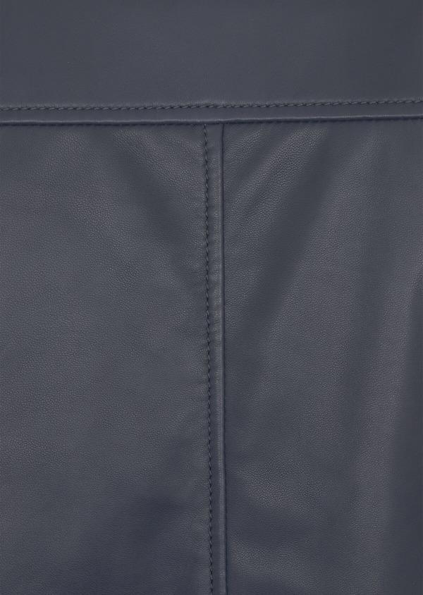 Blouson Teddy en cuir uni bleu marine - Father and Sons 39018