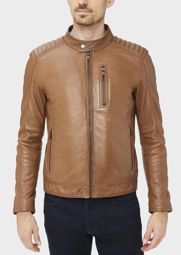 Blouson Biker en cuir uni camel à capuche amovible grise - Father and Sons 39004