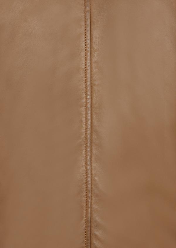 Blouson Biker en cuir uni camel à capuche amovible grise - Father and Sons 38999