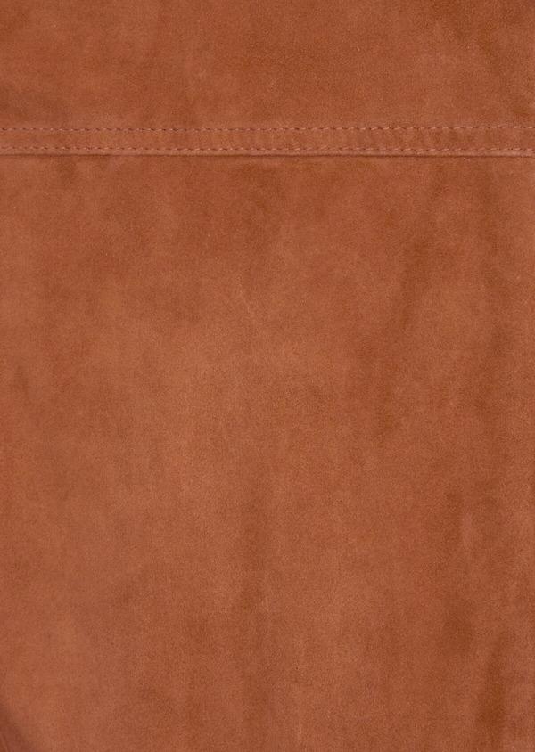 Blouson veste en cuir nubuck uni caramel - Father and Sons 39012