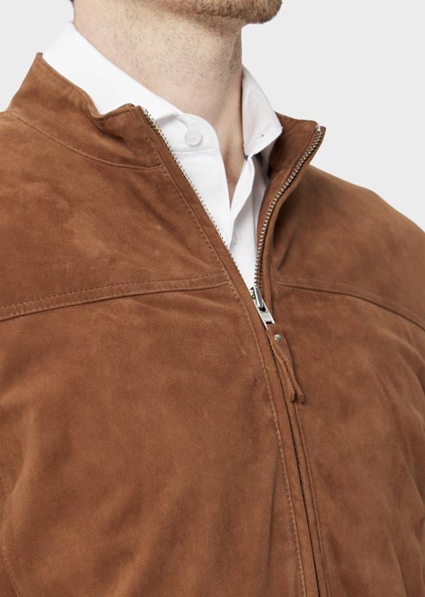 Blouson veste en cuir nubuck uni caramel - Father and Sons 39015