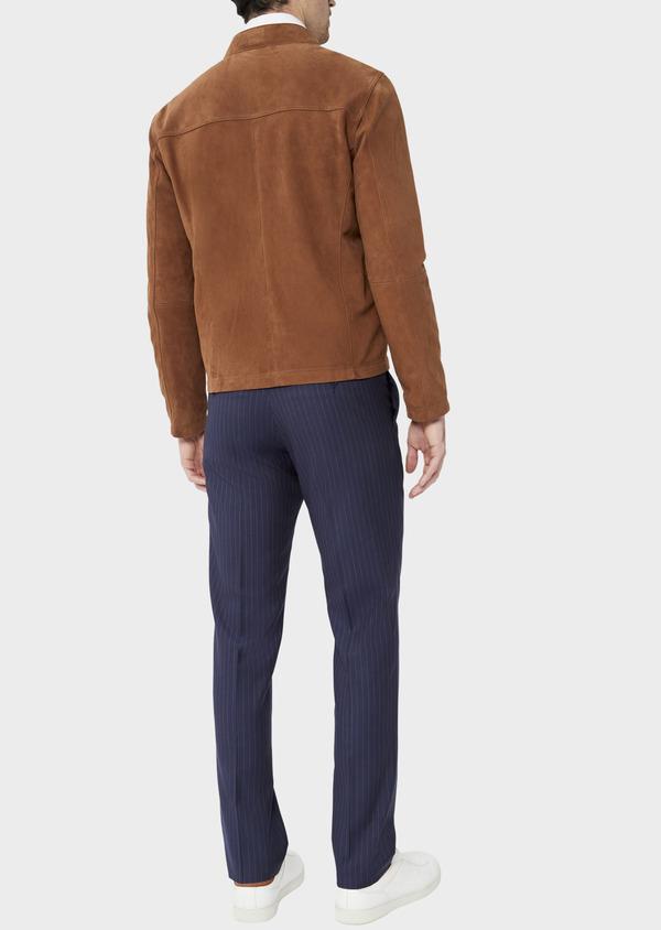 Blouson veste en cuir nubuck uni caramel - Father and Sons 39014