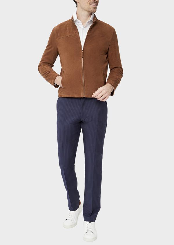 Blouson veste en cuir nubuck uni caramel - Father and Sons 39013