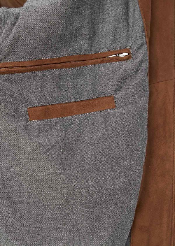 Blouson veste en cuir nubuck uni caramel - Father and Sons 39016