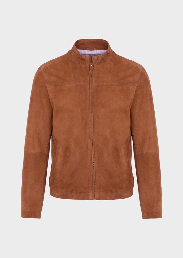 Blouson veste en cuir nubuck uni caramel - Father and Sons 39011