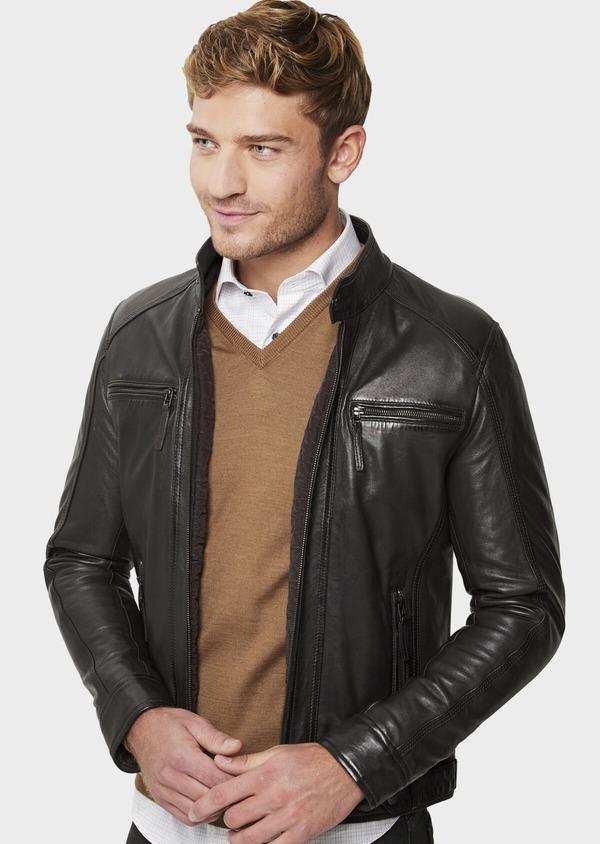 Blouson Biker en cuir uni marron foncé à capuche amovible - Father and Sons 41512