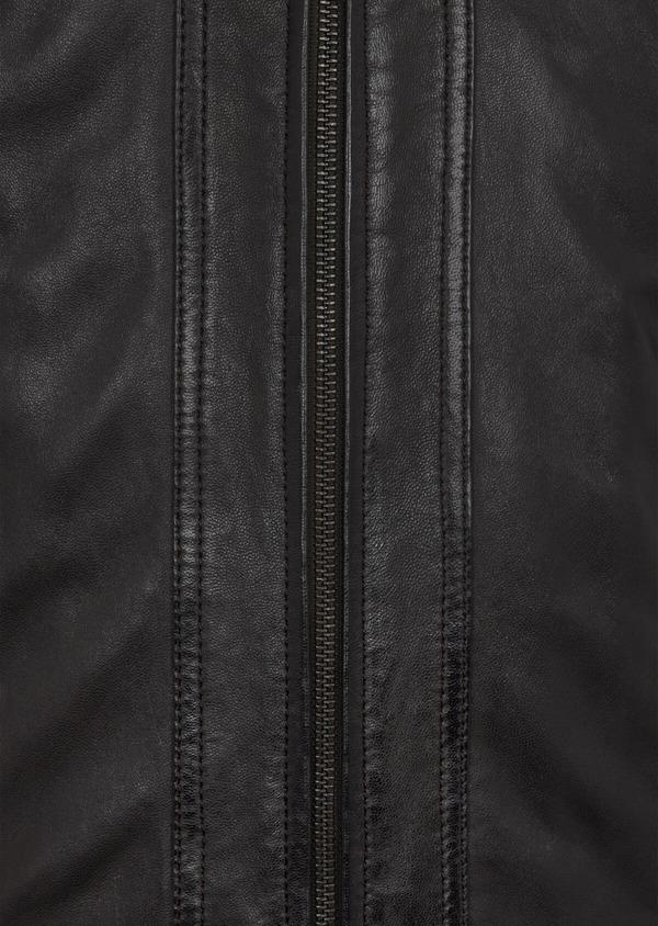 Blouson Biker en cuir uni marron foncé à capuche amovible - Father and Sons 41513