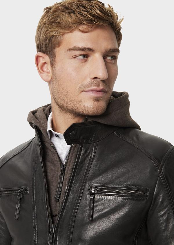Blouson Biker en cuir uni marron foncé à capuche amovible - Father and Sons 41511