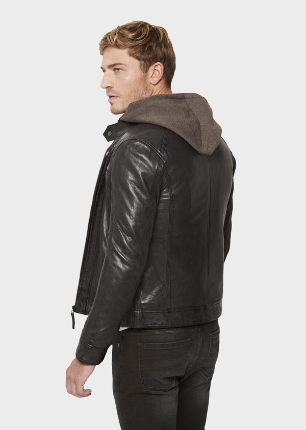Blouson Biker en cuir uni marron foncé à capuche amovible - Father and Sons 41510