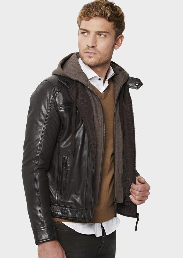 Blouson Biker en cuir uni marron foncé à capuche amovible - Father and Sons 41509