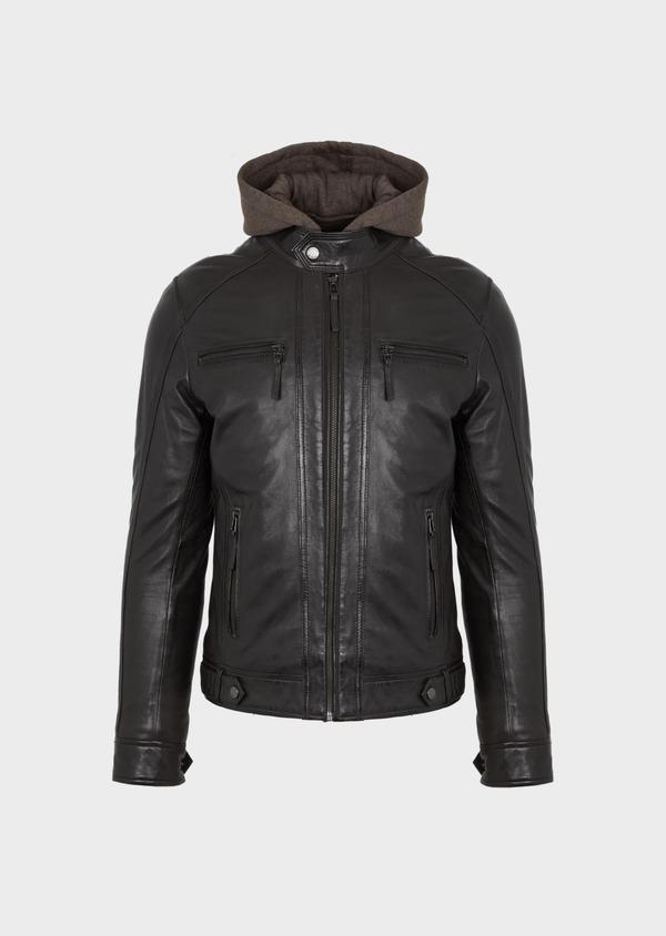 Blouson Biker en cuir uni marron foncé à capuche amovible - Father and Sons 41508