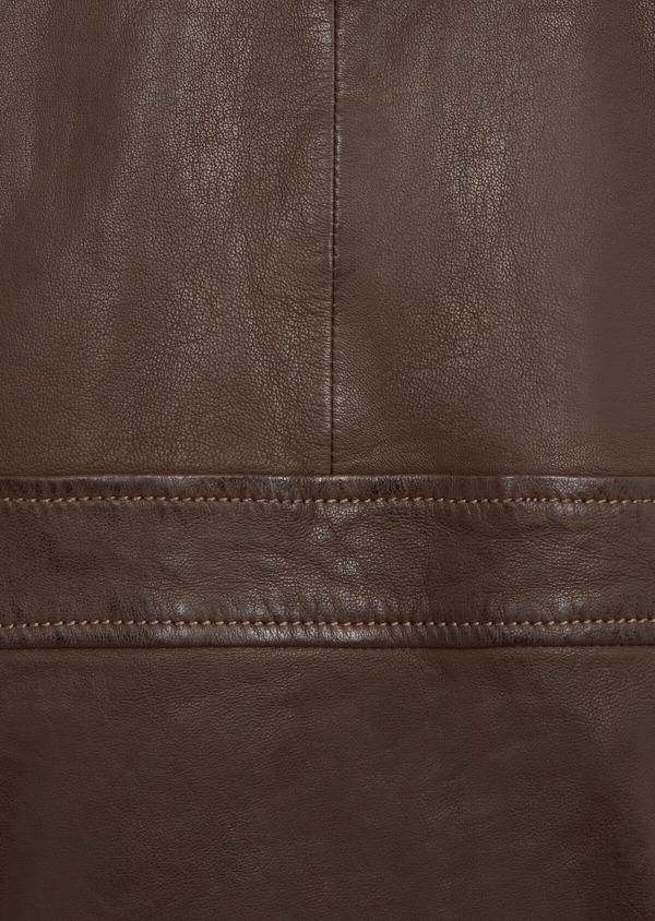 Blouson en cuir uni marron avec col en fausse fourrure amovible - Father and Sons 36868