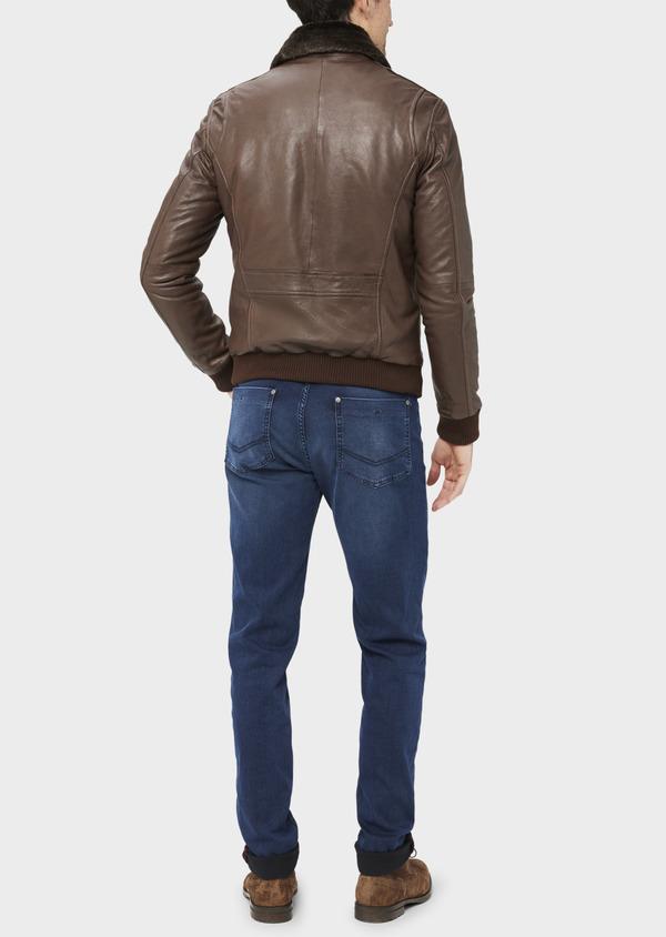 Blouson en cuir uni marron avec col en fausse fourrure amovible - Father and Sons 36870