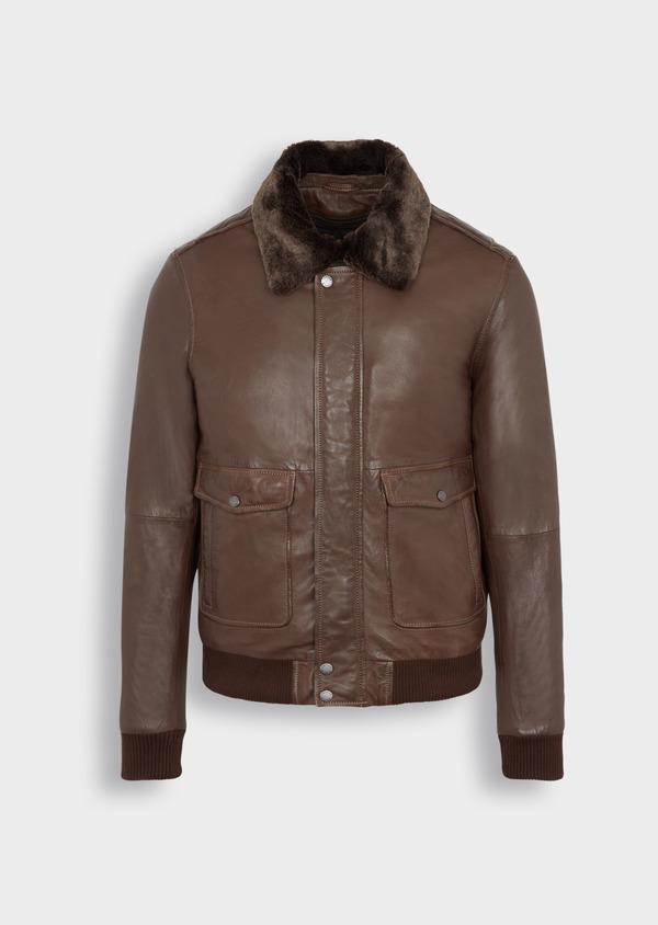 Blouson en cuir uni marron avec col en fausse fourrure amovible - Father and Sons 36867