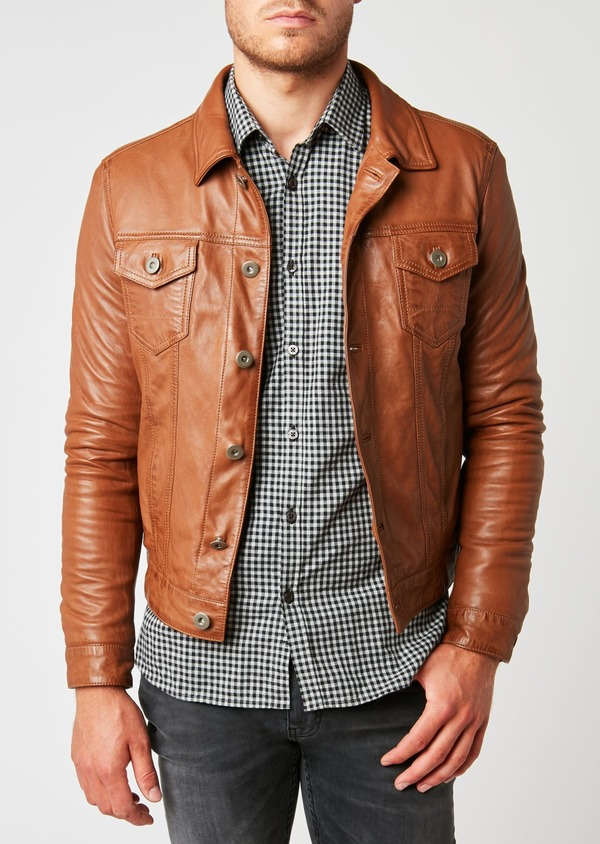 Blouson veste en cuir uni marron clair à capuche amovible - Father and Sons 25579