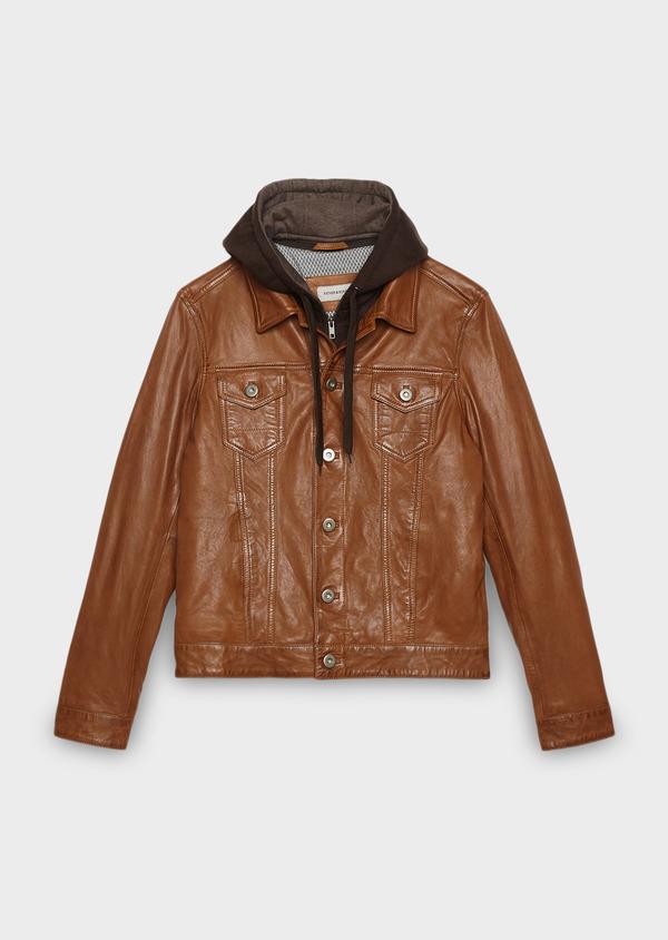 Blouson veste en cuir uni marron clair à capuche amovible - Father and Sons 25574