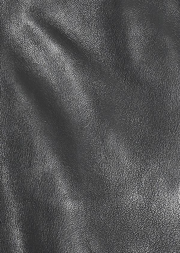 Blouson Biker à capuche en cuir uni noir - Father and Sons 28359