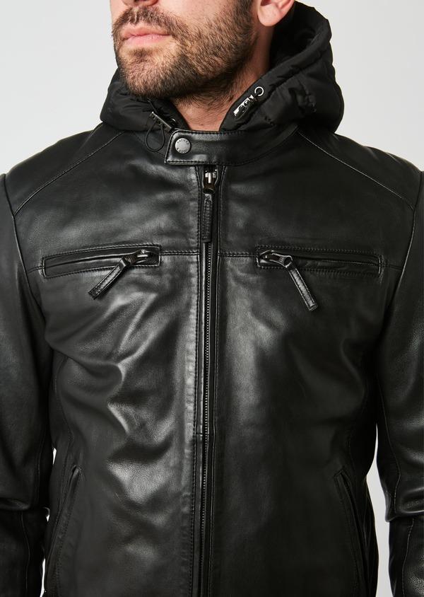 Blouson Biker à capuche en cuir uni noir - Father and Sons 28362