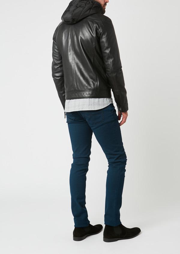 Blouson Biker à capuche en cuir uni noir - Father and Sons 28361