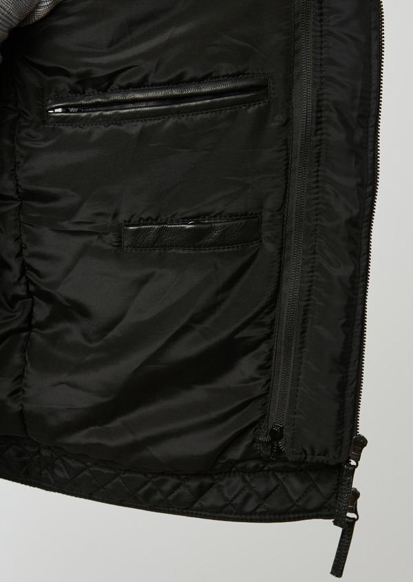 Blouson Biker à capuche en cuir uni noir - Father and Sons 28363