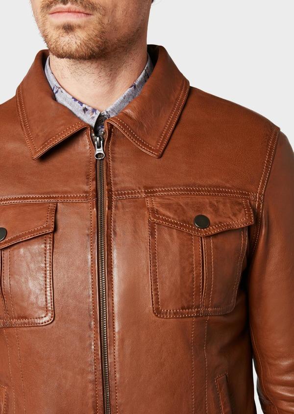 Blouson veste en cuir uni cognac - Father and Sons 31930