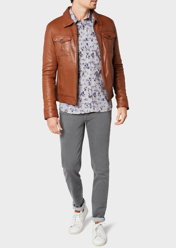 Blouson veste en cuir uni cognac - Father and Sons 31928