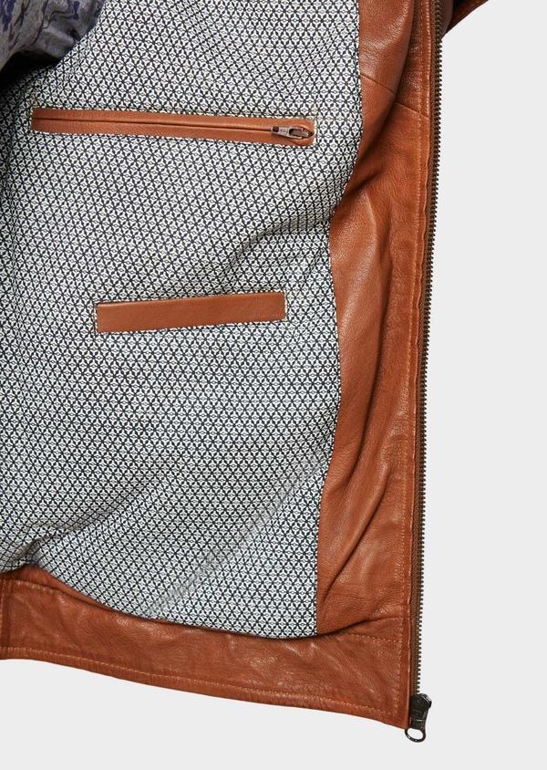 Blouson veste en cuir uni cognac - Father and Sons 31931