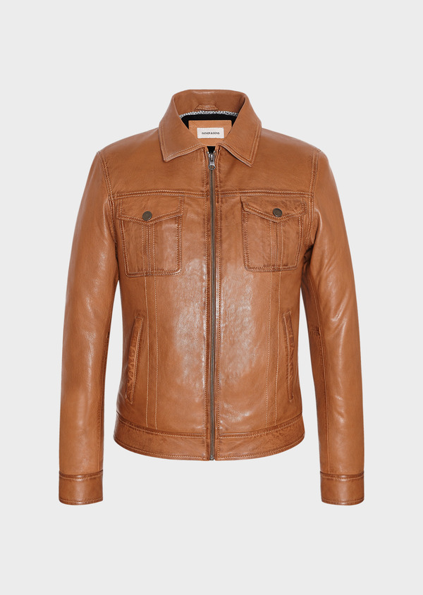 Blouson veste en cuir uni cognac - Father and Sons 31926