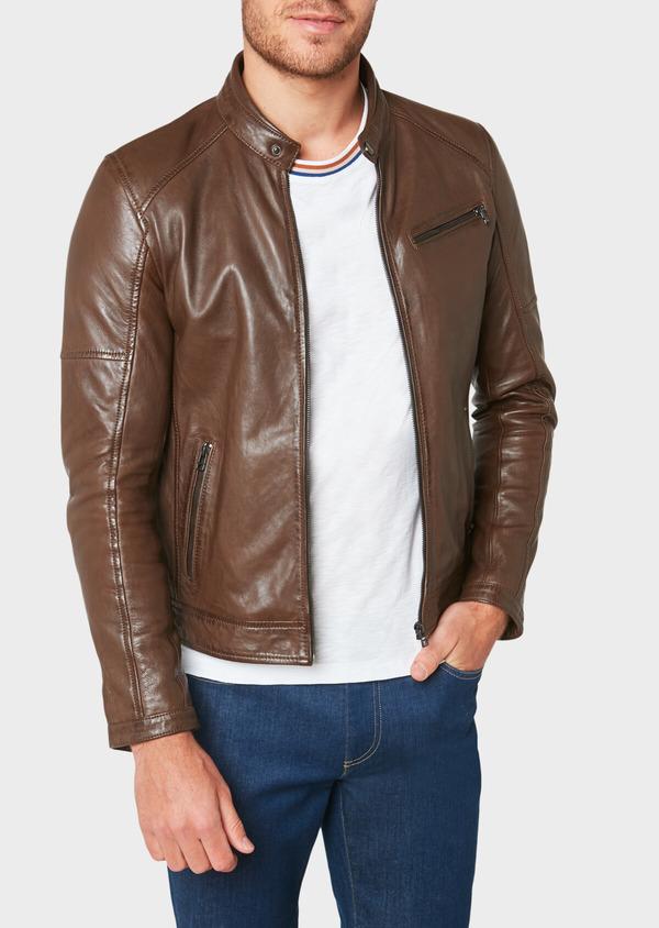 Blouson en cuir uni marron foncé à capuche amovible - Father and Sons 31950