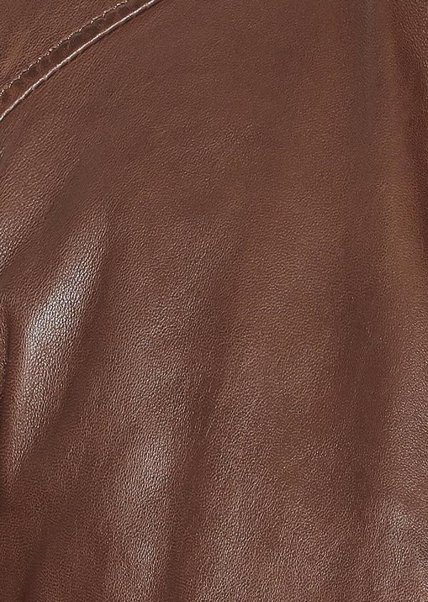 Blouson en cuir uni marron foncé à capuche amovible - Father and Sons 31945