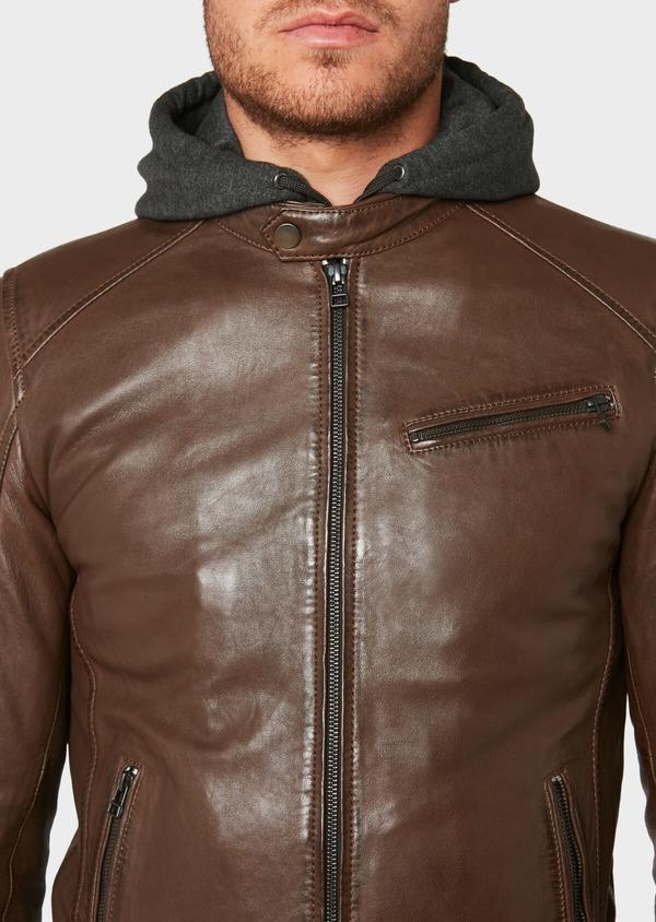 Blouson en cuir uni marron foncé à capuche amovible - Father and Sons 31948