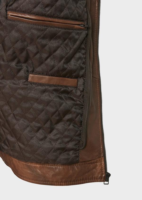 Blouson en cuir uni marron foncé à capuche amovible - Father and Sons 31949
