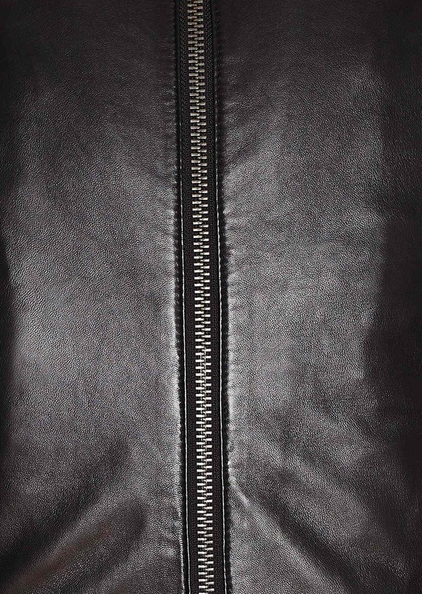 Blouson Biker en cuir uni noir - Father and Sons 31952