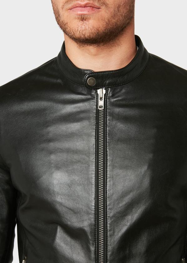 Blouson Biker en cuir uni noir - Father and Sons 31955
