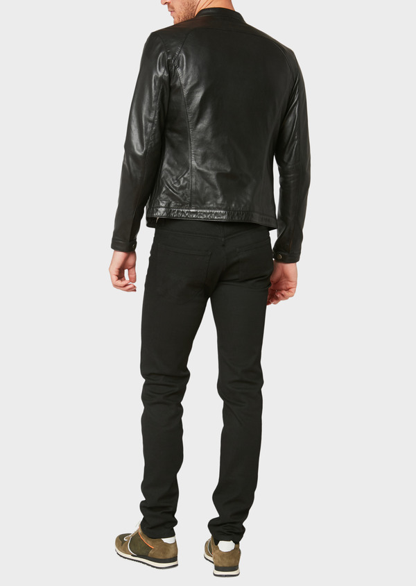Blouson Biker en cuir uni noir - Father and Sons 31954