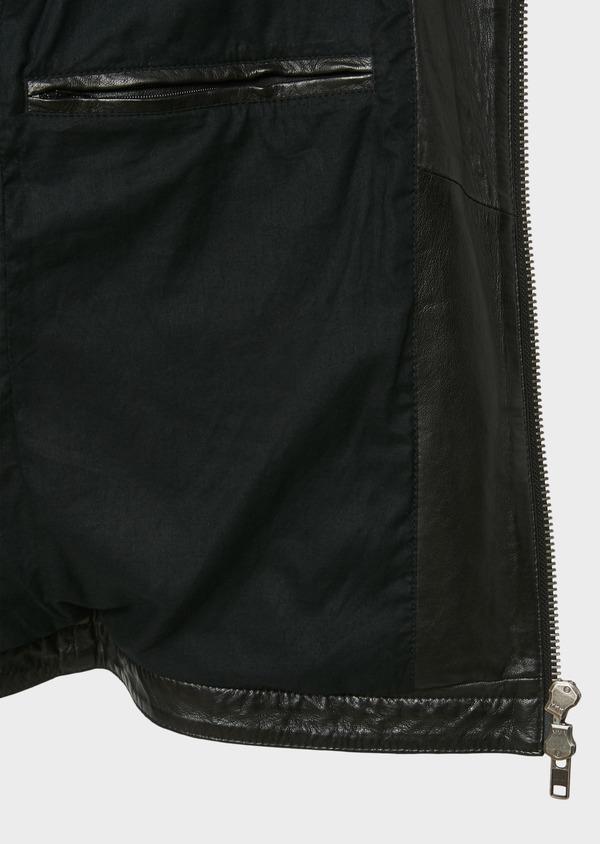 Blouson Biker en cuir uni noir - Father and Sons 31956