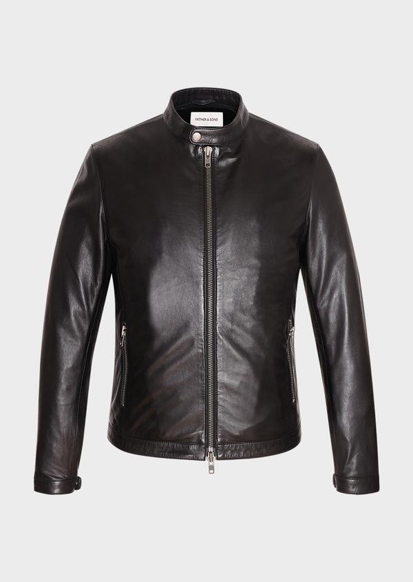 Blouson Biker en cuir uni noir - Father and Sons 31951
