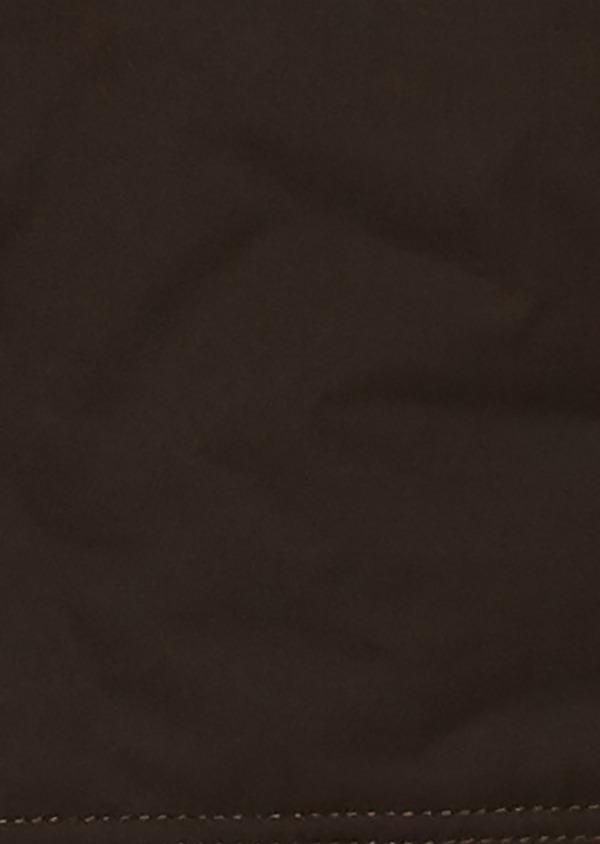 Parka en coton uni marron foncé à col en fausse fourrure - Father and Sons 25648