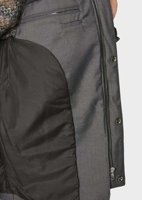 Parka unie gris anthracite matelassée à capuche amovible - Father and Sons 31065