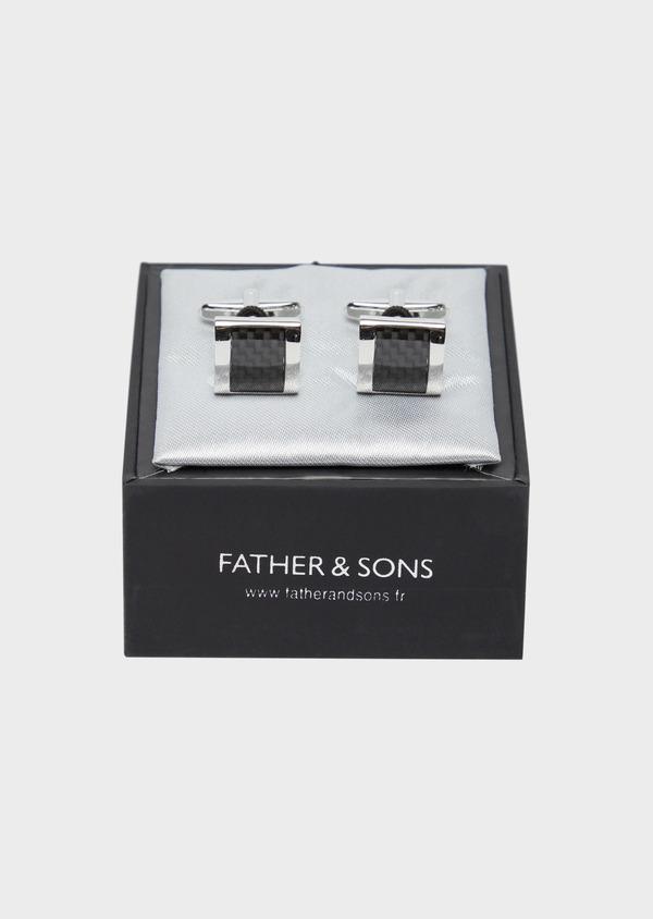 Boutons de manchettes fantaisie carrés noirs - Father and Sons 37876
