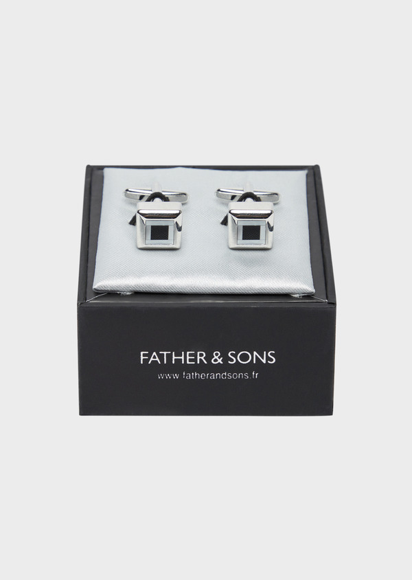 Boutons de manchettes carrés noirs - Father and Sons 37880